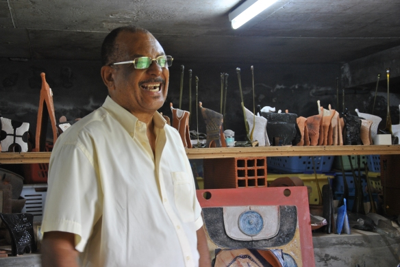 Victor Anicet in his atelier in Shoelcher