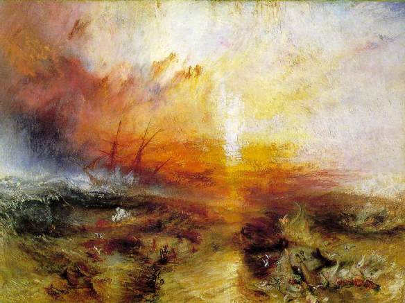 J.M.W. Turner, Slavers Throwing Overboard the Dead and Dying, Typhoon Coming On, 1840. Courtesy of the Museum of Fine Arts, Boston.